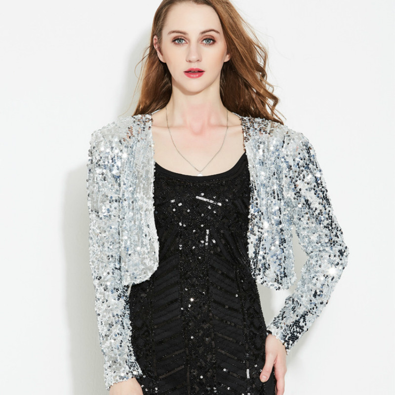 Sequins Jacket Stage High waist Beading Mini Coat Sequined V-Neck Cardigan Stage Show Party Evening Open Stitch Blingbling Tops