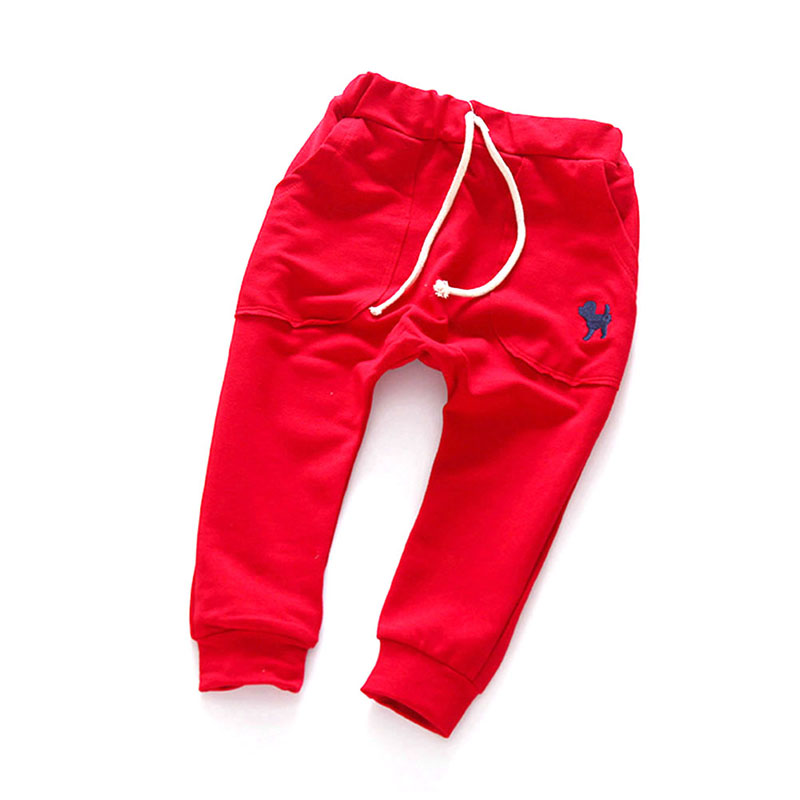 Spring Autumn Mid Elastic Harlan Trousers Solid Kids Legging Fashion Boys Girls Long Pants Kids Toddler 100% Cotton 2018 spring girls and boys fashion loose straight elastic waist plaid cotton pants kids children casual wholesale long trousers page 3