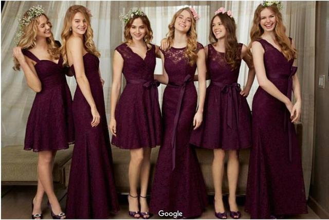 2017 nueva púrpura de la dama de honor vestidos de diseño diferente ...