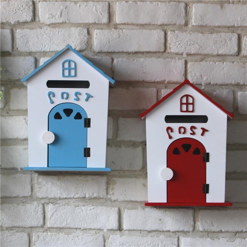 Винтажные настенные полки Organizador, декоративная деревянная коробка, настенный дом, держатель для хранения букв, вешалка для букв, держатель с... - 1