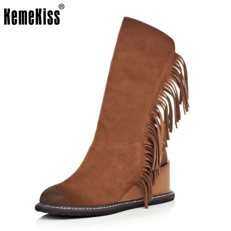 Winter Genuine Real Leather Women Half Knee Wedges Boots Snow Riding Boots Heels Fashion Tassel Women Shoes Botas Size 34-39