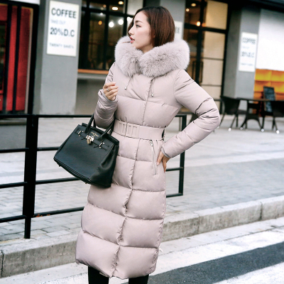 Autumn Winter 2017 New Large Fur Collar Knee Long Down Jacket Coat Korean Female Special Offer Warm Thick Parka Women Natural