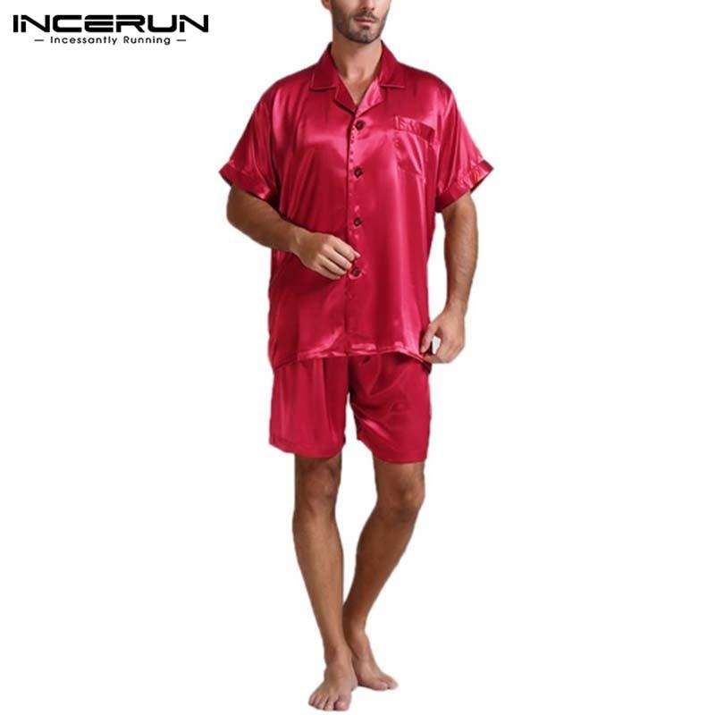 camisa shorts duas peças ternos homens sleepwear verão incerun