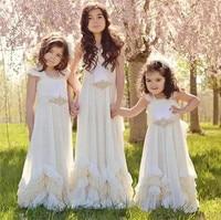 Pretty Backless Flower Girls Dresses For Summer Boho Weddings Sleeveless Dollcake First Communion Dress size 2 16Y