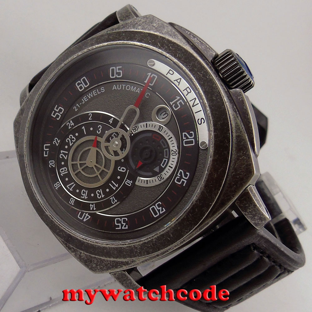 лучшая цена 44mm parnis black dial Sapphire patterned case automatic military mens Watch 789