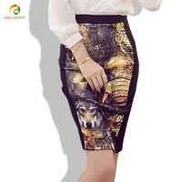 2017 vintage dames de mode vintage animal print taille haute stretch la construction d'impression crayon jupe longue moulante saias femininas