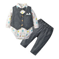 Baby Boys Gentleman Outfit Suits,Toddler Infant Long Sleeve Onesies+Gray Pant+Bowtie+Vest Kids Baby Clothing Set