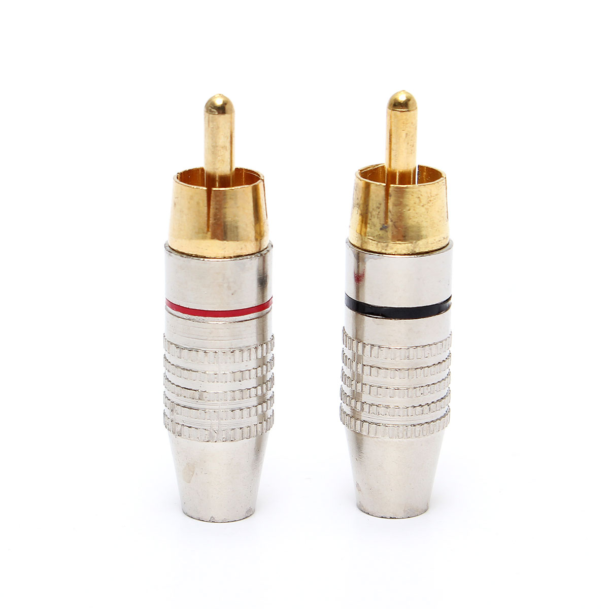 Balck + Red 2x Gold RCA Plug Solder Audio Video Adapter Connector Male to Male Convertor 2pcs hi end rca male plug adapter audio phono gold plated solder connector wv hfr 2in1 lcc77