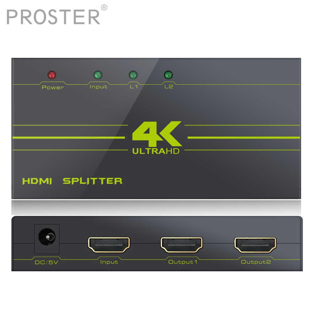 PROSTER 2 k 4 K HDMI сплиттер Поддержка Dolby AC3 DTS усилитель пересинхронизации сигнала 1 в 2 конвертер 1X2 Hdmi переключатель концентратор повторитель