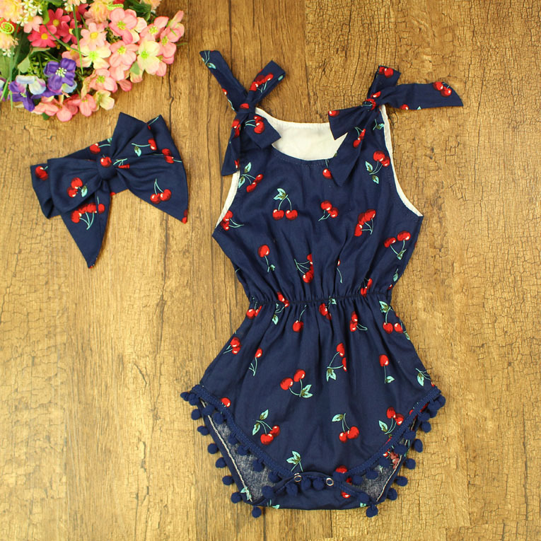 ec747b03fe41 2017 Summer Baby Rompers Girls Cotton Fruit Printed Sleeveless Ruffles  Jumpsuits With Headband Infant Roupas Kids Clothing -in Rompers from Mother    Kids on ...