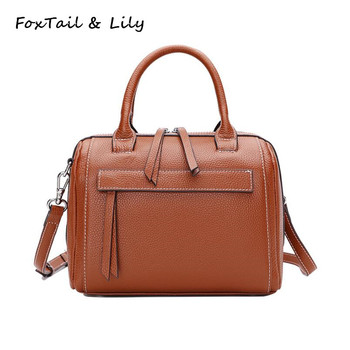 FoxTail & Lily Ladies Real Cow Leather Handbags Women Genuine Leather Tote Messenger Bags High Quality Designer Luxury Brand Bag