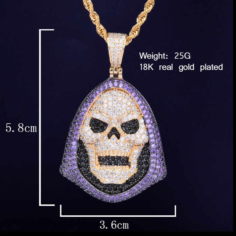 Bluza z kapturem czaszka fioletowy kamień wisiorek naszyjnik łańcuch tenisowy złoty srebrny AAA cyrkonia Hip hop Rock biżuteria