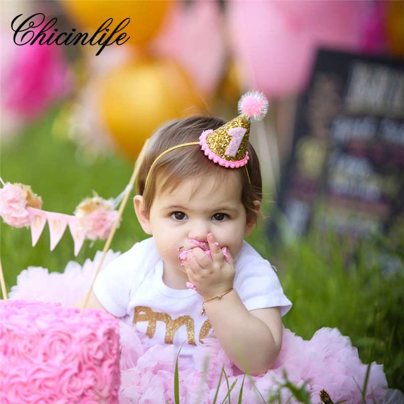 Chicinlife Baby Girl Happy 123 Birthday Party Hat Headband Crown Princess Hairband Baby Shower Photo Props party decoration