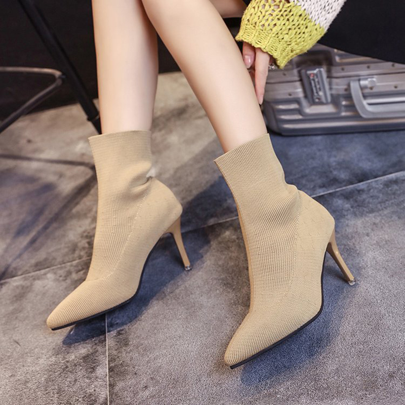 2019 herbst stricken socke stiefel frauen dünne ferse elastische kurze botas dame high heel dünne bein martin stiefel frau knöchel booties