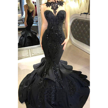 Sexy Black Mermaid Prom Dresses Sweep Evening Dress