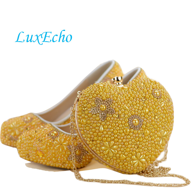 New Gold Yellow Pearl shoes and bags to match woman shoes with matching bag heart high heels womens Pumps ladies Platform shoes doershow african shoes and bags fashion italian matching shoes and bag set nigerian high heels for wedding dress puw1 19