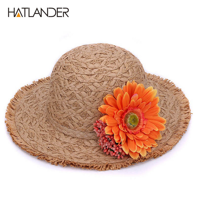 ad1c5c76c4207 HATLANDER brand children floral straw sun hat kids buckets hat pretty  floppy hats outdoor casual summer sun beach hat for girls