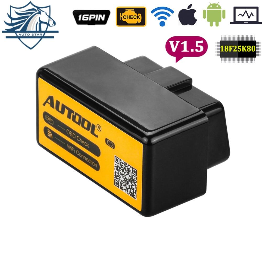 AUTOOL C3 ELM327 V1.5 WiFi Bluetooth OBD2 Obd II Strumento di Diagnostica Adattatore Automotive Scanner PIC18F25K80 Auto Can Bus Android IOS