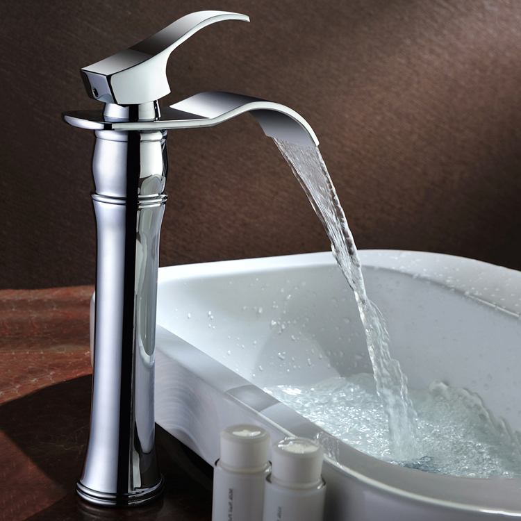 Modern Waterfall Basin Faucets Bathroom Sink Taps Gold plating ...