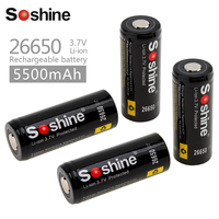 4pcs Soshine 5500mAh 3.7V 26650 Rechargeable Battery Li ion Lithium 26650 Battery with Protected PCB + Battery Storage Box Case