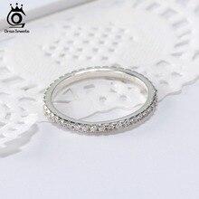 ORSA joyas 100% 925 anillos de plata esterlina mujeres ronda Classic Full Pave AAA Cubic Zircon boda banda joyería SR63