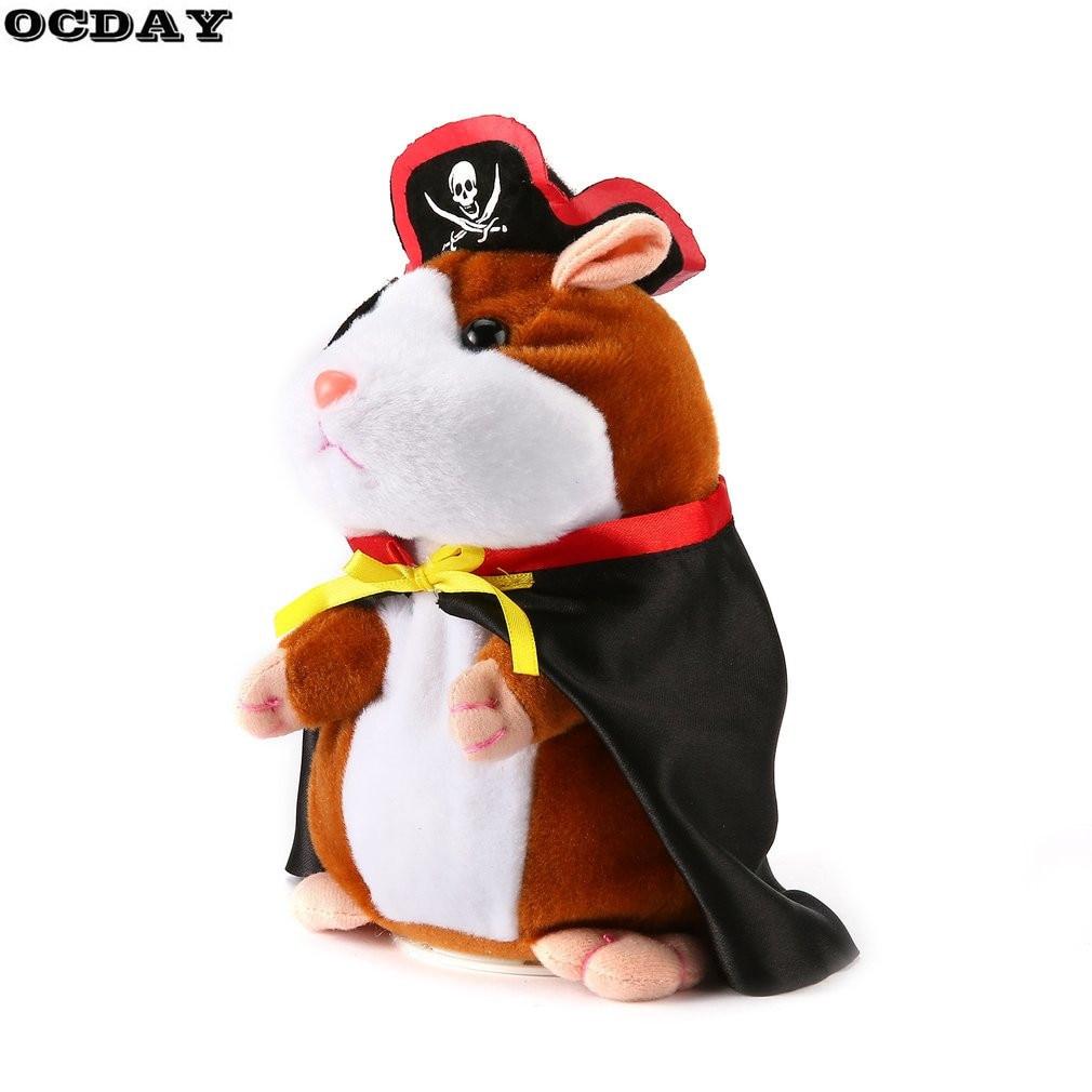 OCDAY 19CM Lovely Talking Hamster Plush Toy Cute Speak Talking Sound Record Hamster Talking Educational Toys for Children Gift