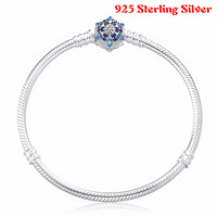 Luxury 100 925 Sterling Silver Bangle Crystalized Snowflake Clasp Snake Chain Basic Bracelets Bangle Fit Women