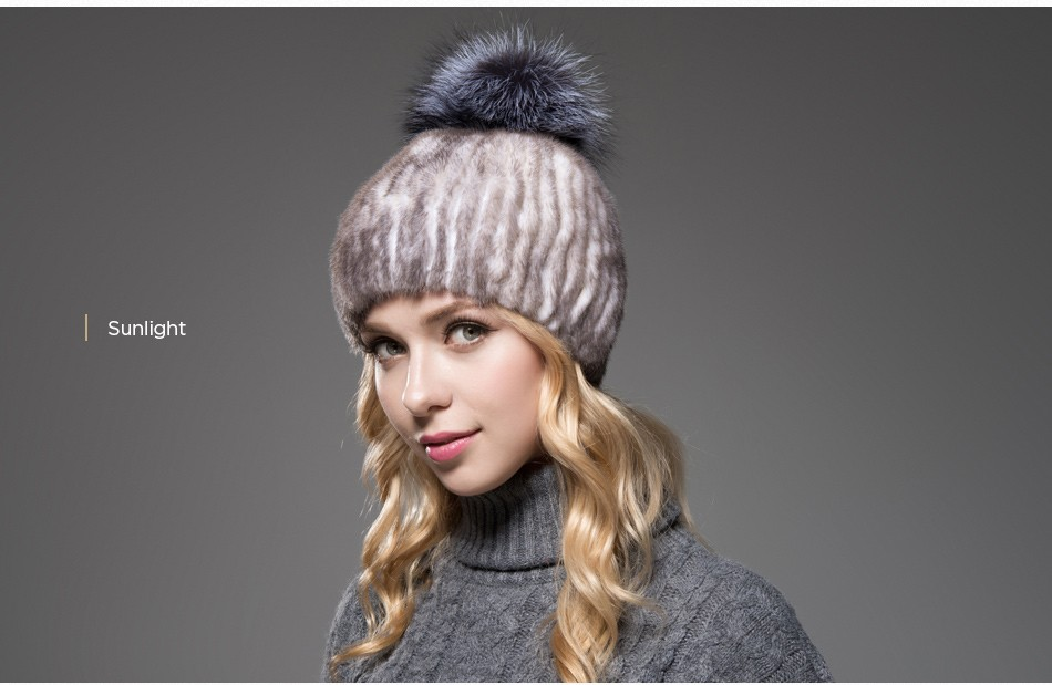 mink fur winter hats for women PCM010 (14)