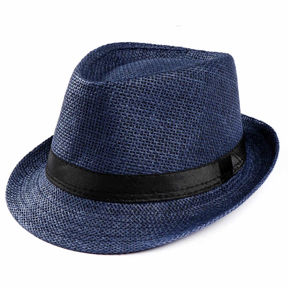 موضة 2019 للجنسين تريلبي العصابات قبعة الشاطئ أحد القش قبعة الفرقة Sunhat النساء فيدوراس الملابس والاكسسوارات # P30