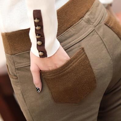 2019 Winter Plus Velvet Thickening Legging Women's Plus Size Pencil Pants Warm Pants Female Trousers European And American Style