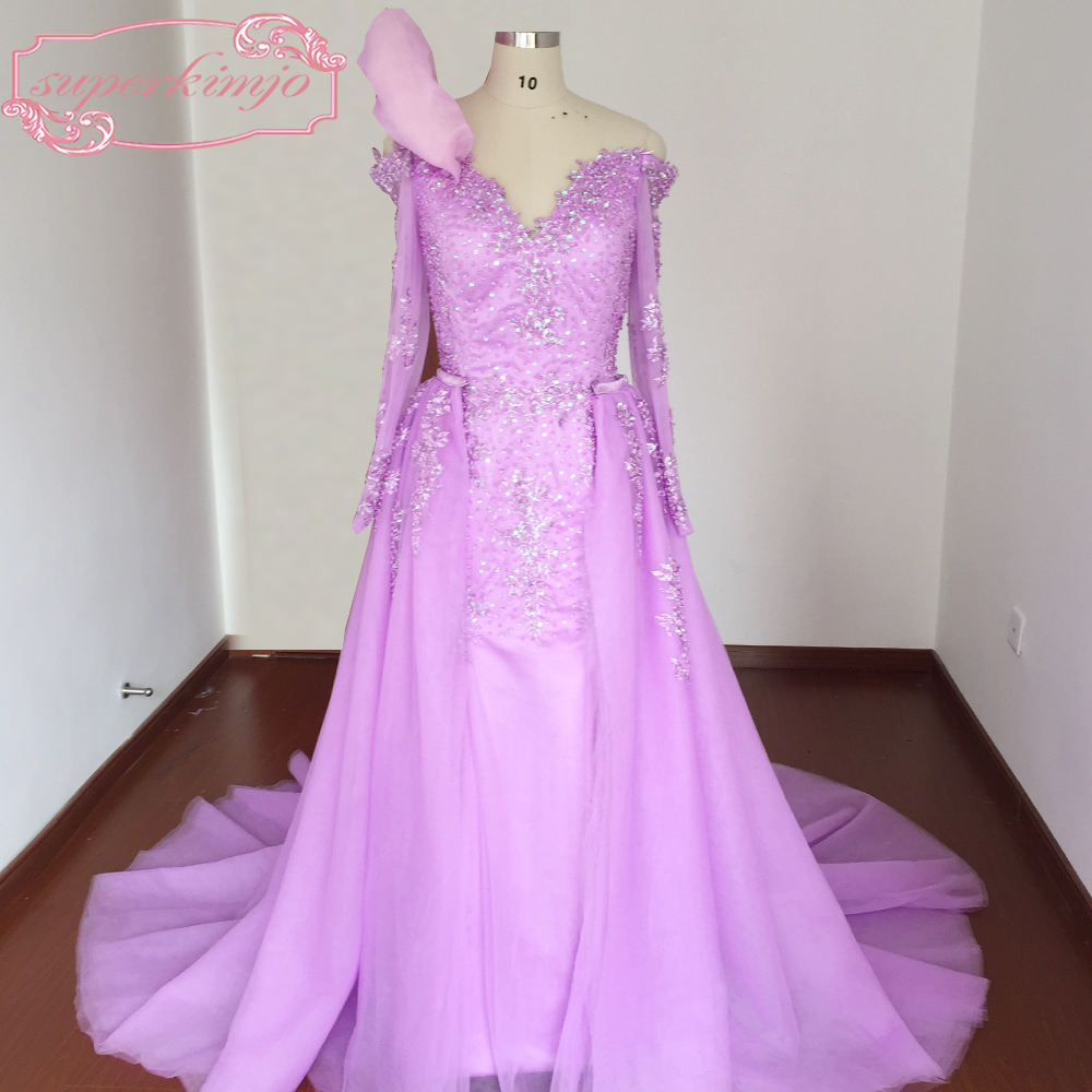 Purple   Prom     Dresses   Real Picture Sweetheart Neckline Lace Appliques Beading Sequins Pearls Detachable Train Evening   Dresses