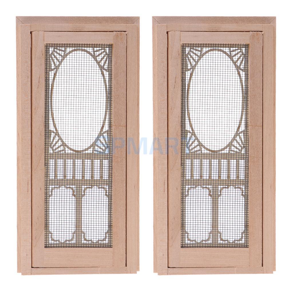 2 Pieces Vintage Wood External Hollow Screen Single Door For 112