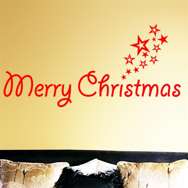 Merry Christmas Stars words wall sticker home decor shop store ...