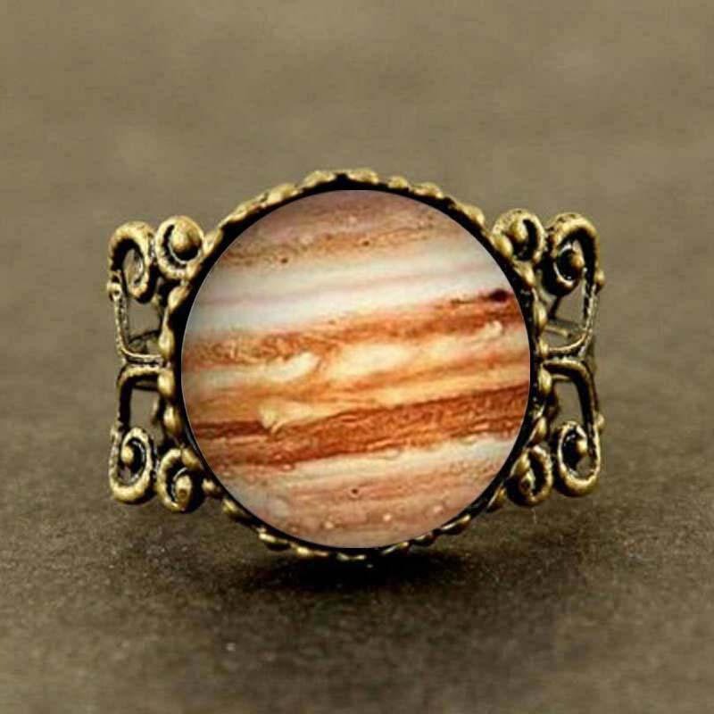 Steampunk Free shipping Jupiter Glass Ring Orange Planet Ring Science Jewelry Geek Jewelry Space