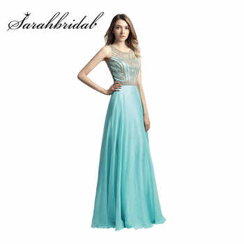 Aqua Long Evening Dresses Cheap In Stock Real Photos Beaded Jewel Neck A Line Prom Party Gowns Floor Length Chiffon LX411 - DISCOUNT ITEM  45% OFF All Category