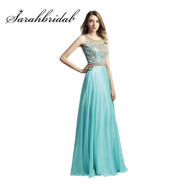 ff45ea4a53 Aqua Long Evening Dresses Cheap In Stock Real Photos Beaded Jewel Neck A Line  Prom Party