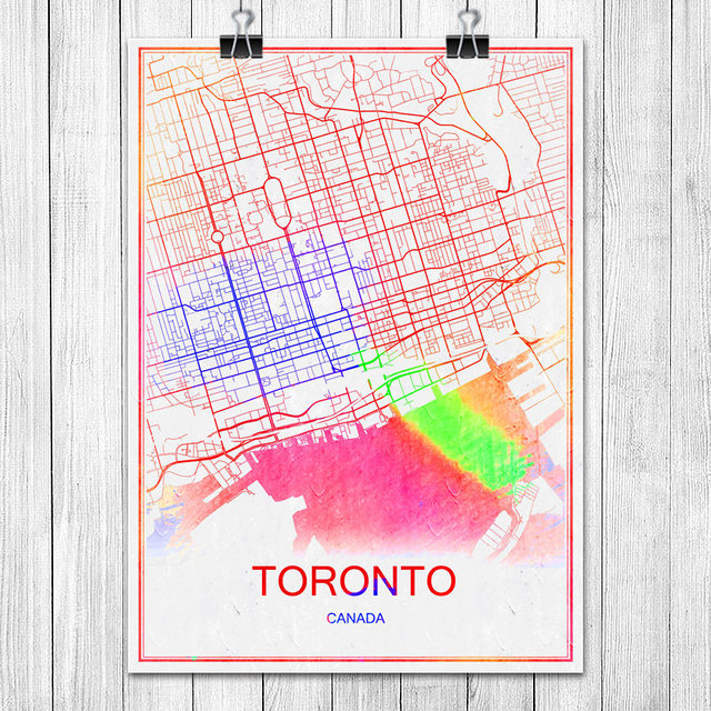 Toronto canada colorful world city map print poster abstract coated paper bar cafe pub living room