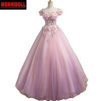 Пикантные розовые платья Quinceanera 2019 3D Цветочные Аппликации корсет миди платья Бал 15 лет Платья маскарадное для выпускного вечера платье
