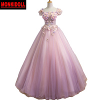 Sexy Pink Quinceanera Dresses 2019 3D Floral Appliques Corset Debutante Gowns Ball 15 Years Dresses Masquerade Prom Dress