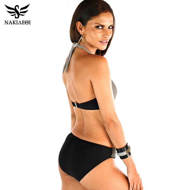 NAKIAEOI 2016 New Sexy Bikinis Women Swimsuit High Waisted Bathing Suits Swim Halter Push Up Bikini Set Plus Size Swimwear 4XL