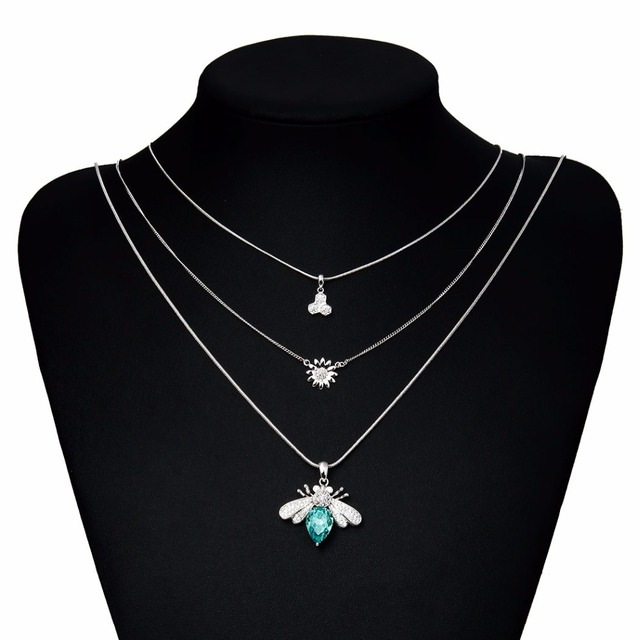 Dorado multi-layer bijoux micro paved austria crystal choker insect pendant necklace wedding party unique accessories jewelry