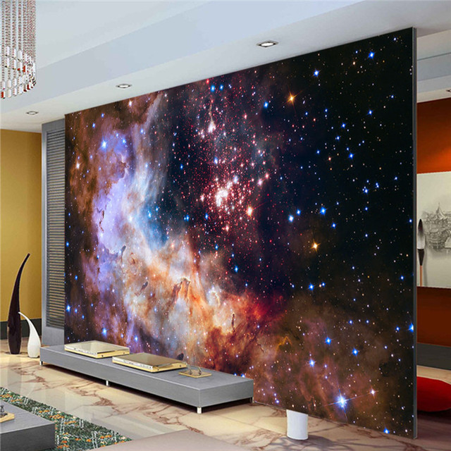 3D Gorgeous Galaxy Photo Wallpaper Custom Silk Wallpaper Starry Night Wall  Mural Art Painting Hoom Decor Part 32