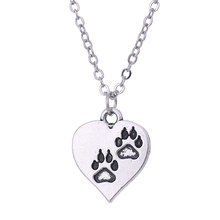Fishhook thin chain pet love charm paw engraved zinc alloy silver heart chunky pandent necklace women jewelry(China)