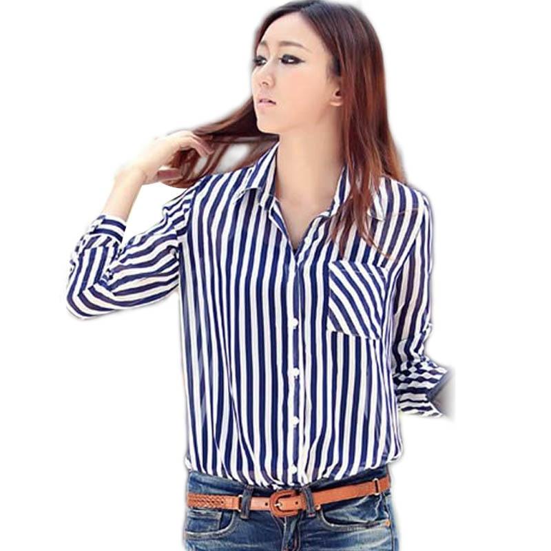 2017 Vintage Ol Ladies Blue Vertical Stripe Shirts Button