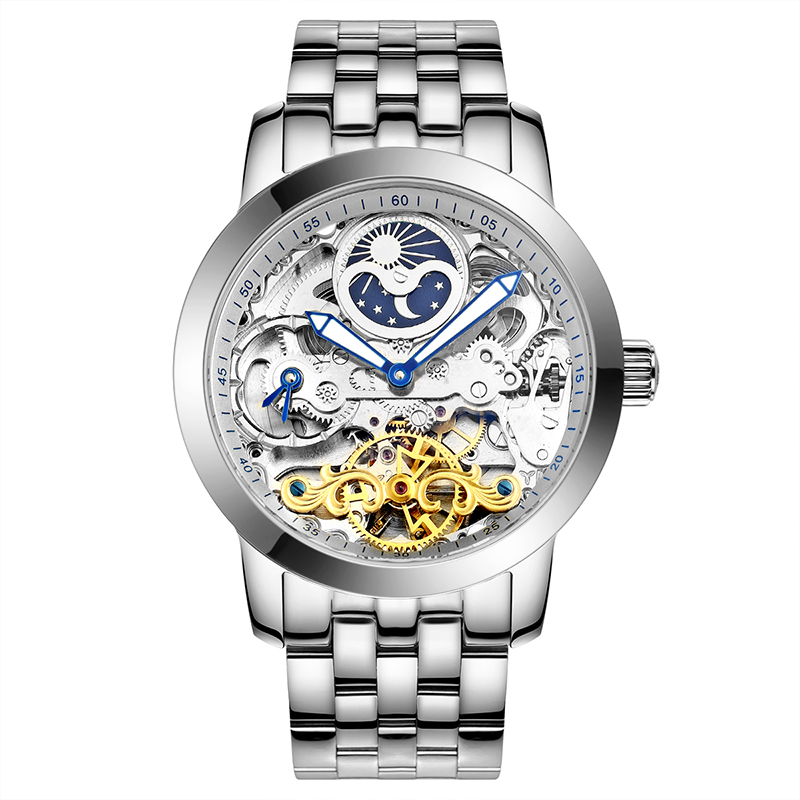AILANG 6812 Switzerland watches men luxury brand thin hollow automatic mechanical moon phase Tourbillon silver relogio masculino ailang 8221a switzerland watches men luxury brand automatic double tourbillon moon phase hollow business watch relogio masculino
