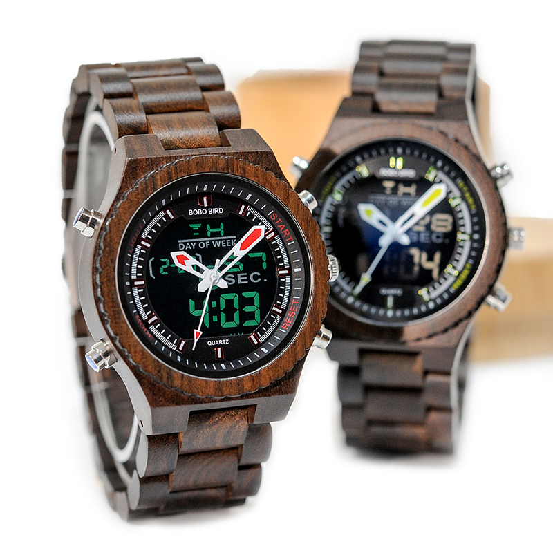 BOBO BIRD Luminous Hands Watches Men Handmade Auto Date Wooden Strap Male