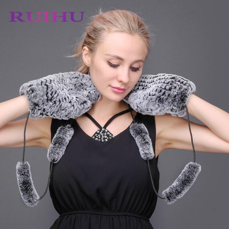 RUIHU Winter Women Gloves Genuine Naturas