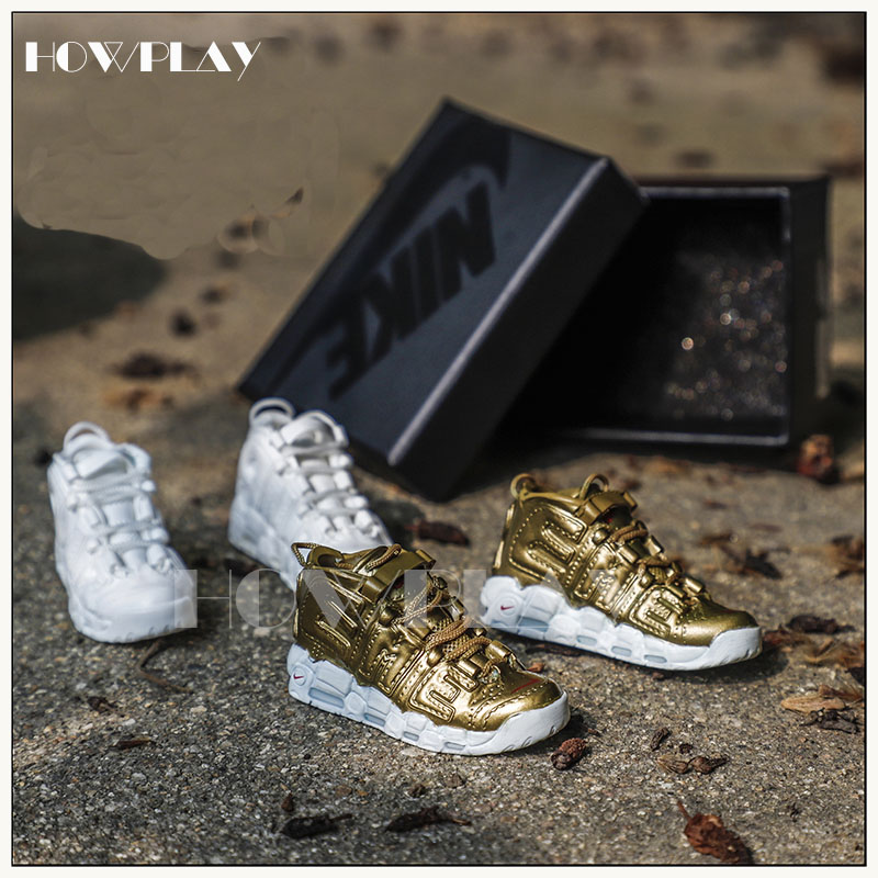 6c44e3a755e9 Howplay sneaker keychain 3D mini basketball shoes model backpack pendant  keyring creative gift toy for AIR More Uptempo fan
