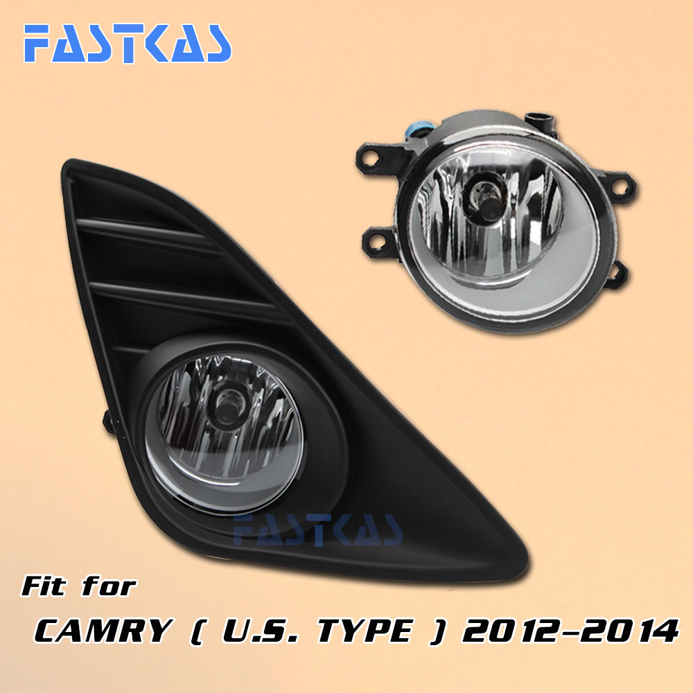 12v Car Fog Light Assembly for Toyota Camry (U.S Type) 2012 2013 2014 Front Left and Right Fog Light Lamp with Harness Fog Light special car trunk mats for toyota all models corolla camry rav4 auris prius yalis avensis 2014 accessories car styling auto