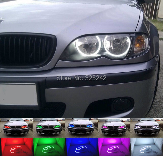 For BMW E46 Coupe Halogen headlight 2000-2003 Excellent Multi-Color Ultra bright 7 Colors RGB LED Angel Eyes Halo Rings цены
